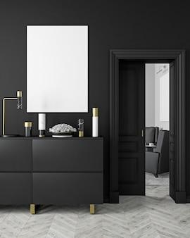Klassiek, modern, zwart interieur in scandinavische stijl met vazen, dressoir, consoe, deur, lamp, frame, houten vloer. 3d render illustratie.