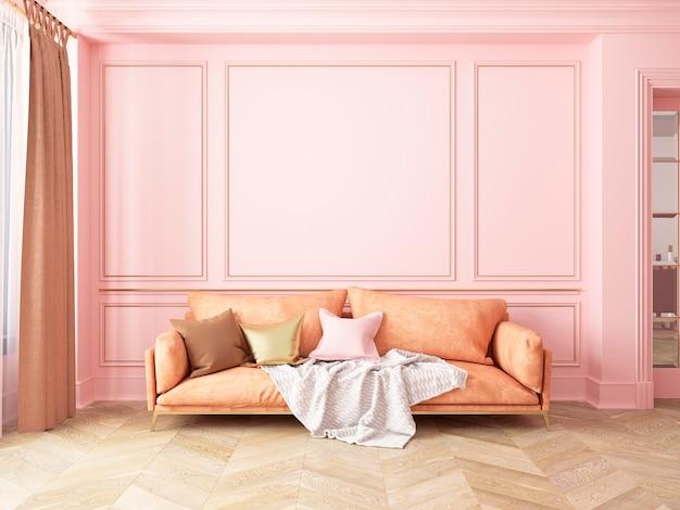 Klassiek roze interieur met bank. 3d render interieur.