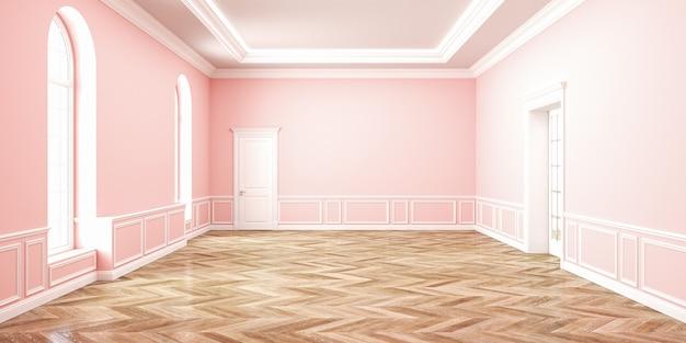 Klassiek roze rozenkwarts lege ruimte interieur. 3d render illustratie