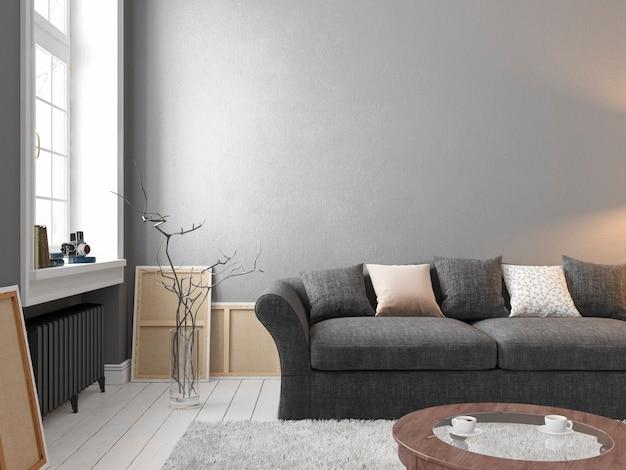 Klassiek scandinavisch grijs interieur met bank, tafel, raam, tapijt. 3d render illustratie.