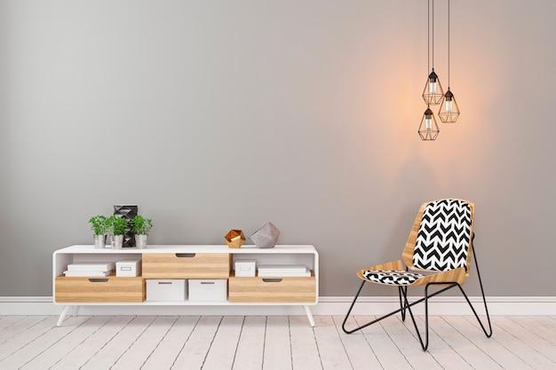Klassiek scandinavisch grijs leeg kamerinterieur met dressoir, stoel, zolderlamp en planten. 3d render illustratie.