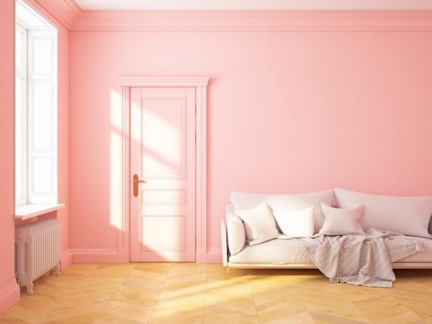 Klassiek scandinavisch interieur roze roze kwarts met bank en kussens. 3d render illustratie