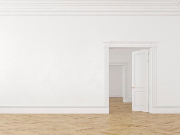 Klassiek scandinavisch wit leeg interieur met deuren en parket. 3d render illustratie.