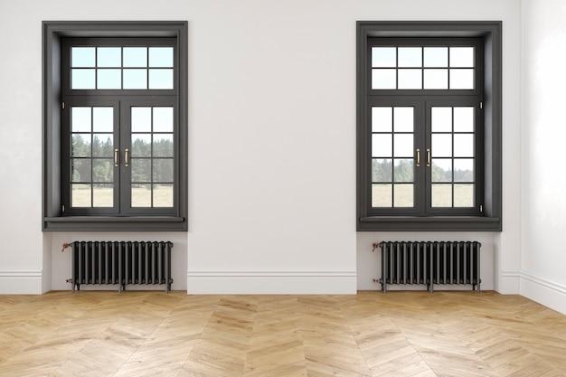 Klassiek scandinavisch wit leeg interieur met ramen, parket en verwarmingsbatterijen. 3d render illustratie.