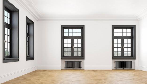 Klassiek scandinavisch wit leeg interieur met ramen, parket en verwarmingsbatterijen. grote kamer. 3d render illustratie.