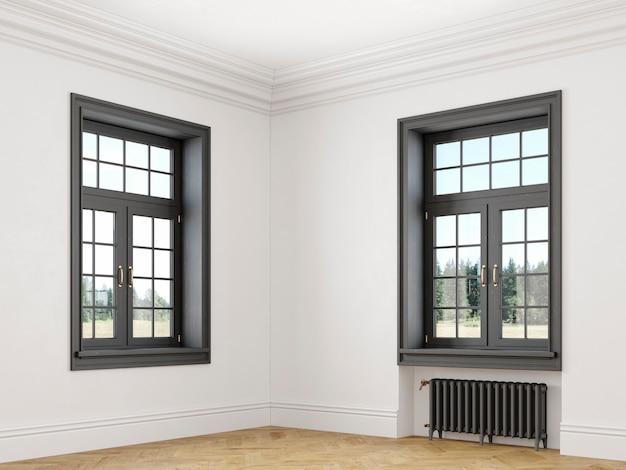 Klassiek scandinavisch wit leeg interieur met ramen, parket en verwarmingsbatterijen. hoekweergave 3d render illustratie.
