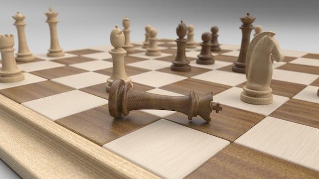 Klassiek schaakbord en stukken