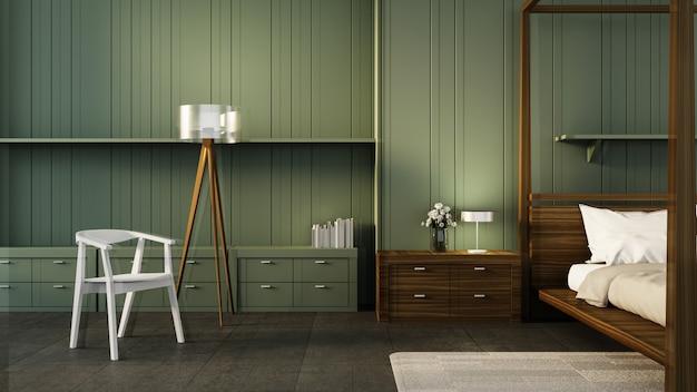 Klassiek slaapkamerbinnenland & groen muur / 3d teruggevend binnenland