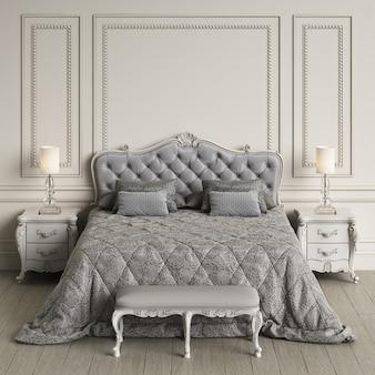 Klassiek slaapkamerbinnenland met exemplaarruimte. model. digitale illustratie. 3d-rendering