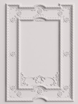 Klassiek spiegelwit frame op de witte muur. 3d-rendering
