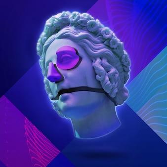 Klassiek standbeeld achtergrond concept vaporwave stijl achtergrond klassieke sculptuur met vervorming