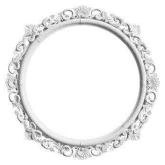 Klassiek wit frame met ornamentdecor dat op witte achtergrond wordt geïsoleerd