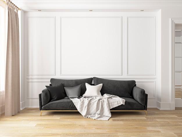 Klassiek wit interieur met bank. 3d render interieur.