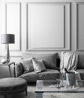 Klassiek wit interieur met bank, glazen tafel, poef, kussens, plaid, lamp, vaas. 3d render illustratie.