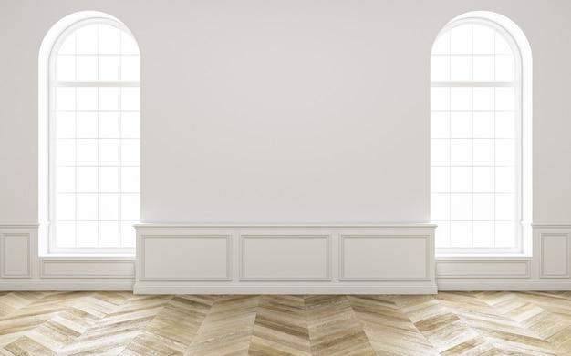 Klassiek wit leeg interieur met houten vloer en raam. 3d render illustratie. .