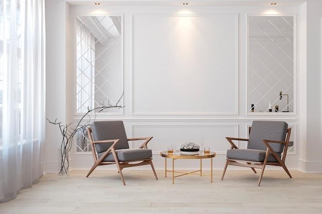 Klassiek wit modern interieur lege ruimte met lounge fauteuils, tafel en spiegels. 3d render illustratie.