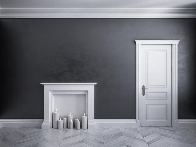 Klassiek zwart interieur met deur, parket en open haard met kaarsen. 3d render illustratie