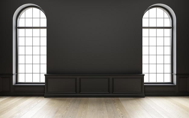 Klassiek zwart leeg interieur met houten vloer en raam d render illustratie