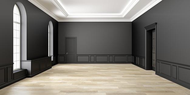 Klassiek zwart lege ruimte interieur. 3d render illustratie.