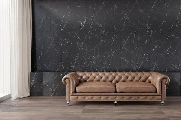 Klassieke bank met zwart marmer patroon muur houten vloer witte curtian ernaast