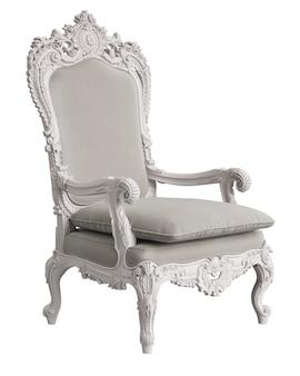 Klassieke barokke fauteuil in ivoorkleur die op wit wordt geïsoleerd