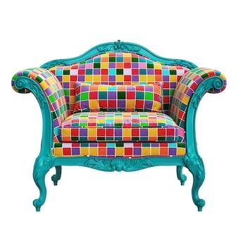 Klassieke barokke fauteuil in pop-artstijl geïsoleerd op een witte achtergrond
