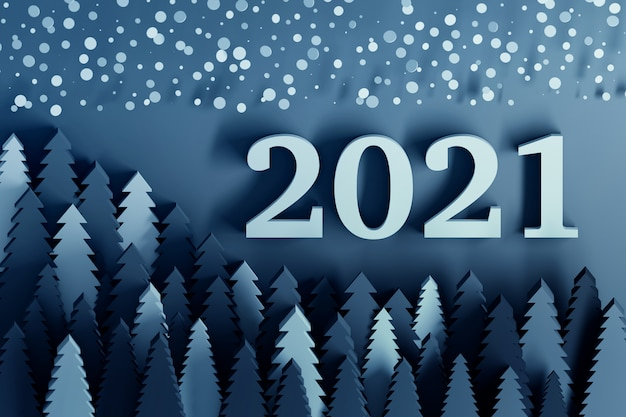 Klassieke blauw gekleurde 2021 nieuwjaarswenskaart