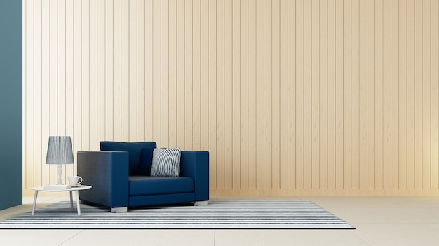 Klassieke blauwe leunstoelwoonkamer / 3d teruggeven
