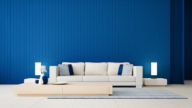 Klassieke blauwe muur woonkamer / 3d-rendering