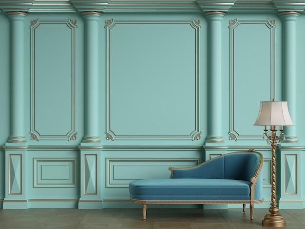 Klassieke chaise longue in klassiek interieur met kopie ruimte