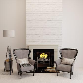 Klassieke fauteuil in een kamer met open haard