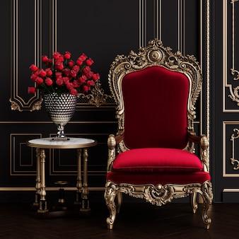 Klassieke fauteuil in klassieke interieur interieur mockup 3d illustratie
