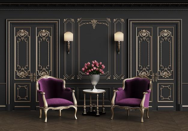 Klassieke fauteuils in klassiek interieur met kopie ruimte