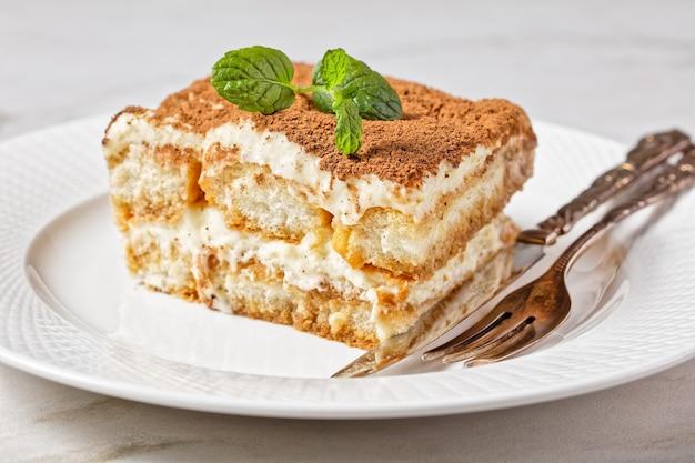 Klassieke italiaanse desserttiramisu van lange vingers of savoiardi gedrenkt in espresso en mascarpone gemengd met losgeklopt eiwit geserveerd op een witte plaat met verse munt op een marmeren tafel, close-up