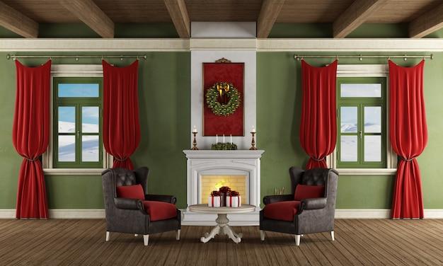 Klassieke kamer met kerstversiering