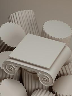 Klassieke luxe podium cosmetische achtergrond voor branding en product presentatie.3d rendering illustratie.