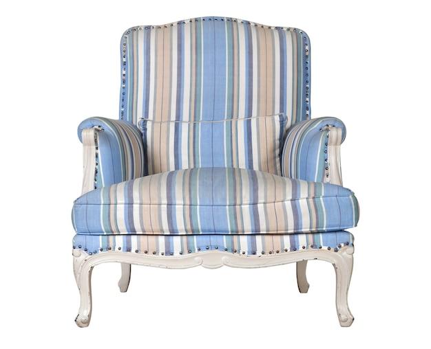 Klassieke textiel blauwe stoel die op wit wordt geïsoleerd