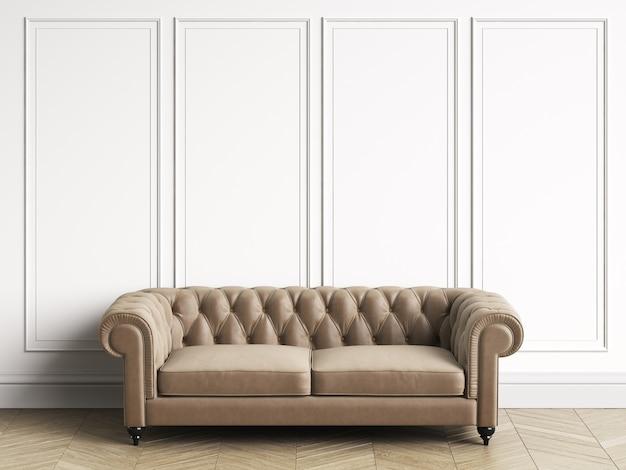 Klassieke tufted bank in klassiek interieur met kopie ruimte. witte muren met lijstwerk. visgraat op de vloer. 3d-rendering