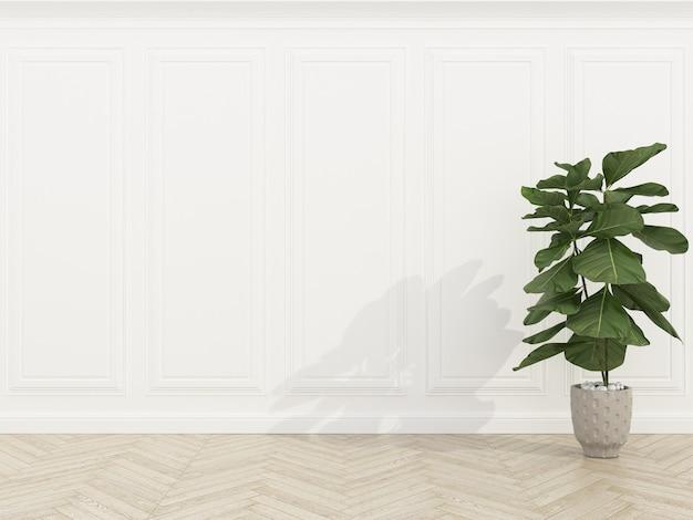 Klassieke witte bakstenen muur met houten vloer