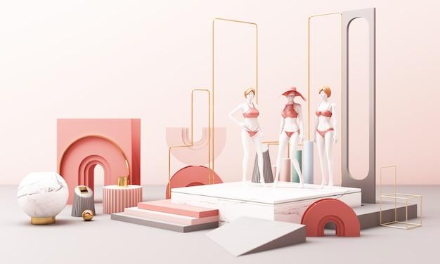 Kleding mannequinson met geometrische vorm pastel kleur 3d-rendering