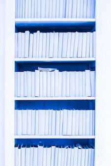 Kledingkast met blauwe boeken. decor element. textuur, achtergrond. muur. literatuur, bibliotheek.