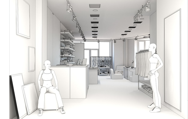 Kledingwinkel interieur visualisatie illustratie