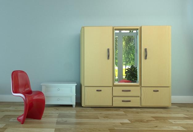 Kleedkamerontwerp - houten vloer en lichtblauwe muurachtergrond. 3d-rendering