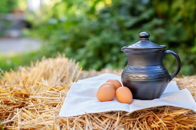 Kleikruik en kippeneieren op stro in tuin. melk in klei kruik. biologisch product.