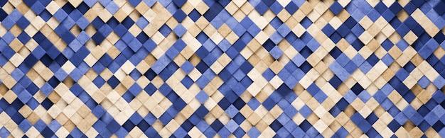 Klein blauw en oranje vierkantenpatroon