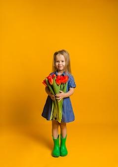 Klein blond meisje in een blauwe spijkerjurk en rubberen laarzen staat met een boeket rode tulpen op een gele muur