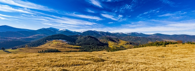 Klein dorp in een bergdal van de karpaten op een herfstdag