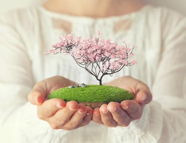 Klein fantastisch eiland met roze boom in handen van vrouwen sakura