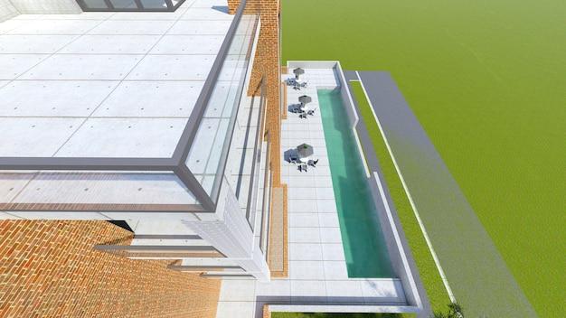 Klein functioneel condominium met een eigen afgesloten garage en zwembad 3d-rendering
