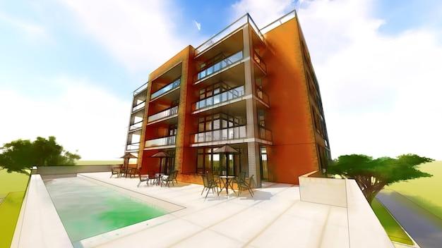 Klein functioneel condominium met een eigen afgesloten garage en zwembad Premium Foto